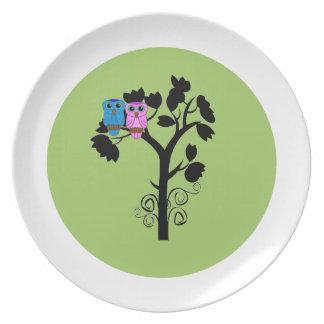 Placa del búho - pájaros del amor - arte abstracto plato