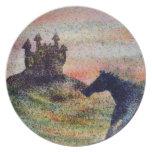 Placa del caballo y de la melamina del castillo plato para fiesta