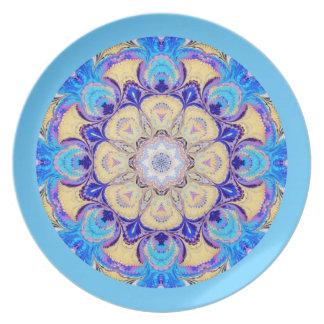 Placa del caleidoscopio en azul y amarillo platos