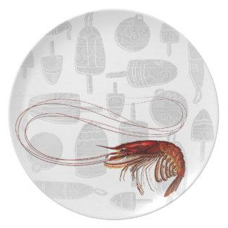 Placa del camarón del vintage plato