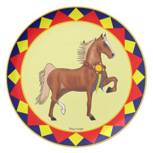 Placa del campeón de Saddlebred del americano Platos Para Fiestas