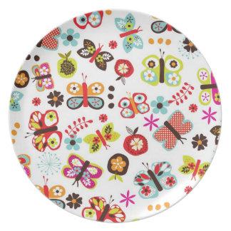 placa del campo de la mariposa plato para fiesta