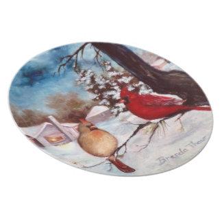Placa del cardenal de la serenidad del invierno plato para fiesta