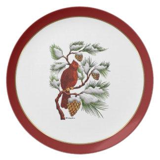 Placa del cardenal del navidad plato