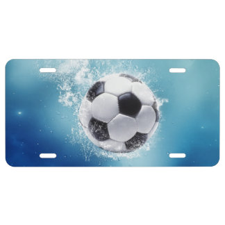 Placa del chapoteo del agua del fútbol placa de matrícula