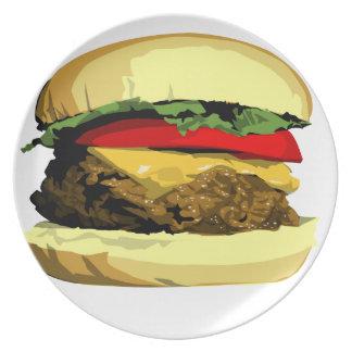 Placa del cheeseburger plato para fiesta