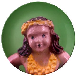 Placa del chica de Hula Plato De Cerámica