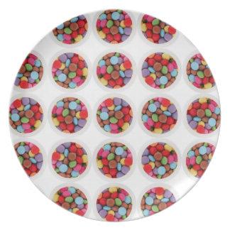 placa del círculo del caramelo plato de cena
