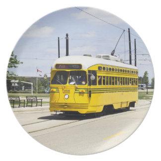 Placa del coche de la tranvía de los WI de Kenosha Platos