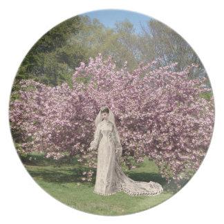 Placa del coleccionable de la novia de la flor de  plato de comida