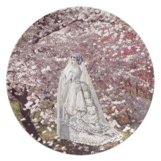 Placa del coleccionable de la novia de la flor de  plato para fiesta