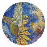 Placa del colibrí plato de comida
