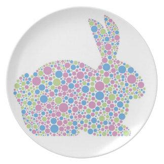Placa del conejo de conejito de los lunares platos