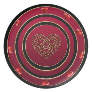 Placa del corazón plato de comida