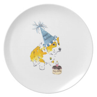 Placa del Corgi del gorra del cumpleaños Plato
