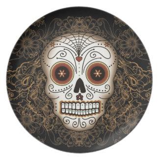 Placa del cráneo del azúcar del vintage platos para fiestas