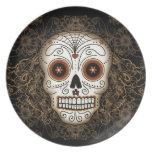 Placa del cráneo del azúcar del vintage plato de cena