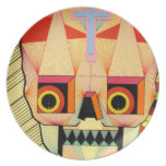 placa del cráneo del robot plato