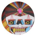 placa del cráneo del robot platos para fiestas