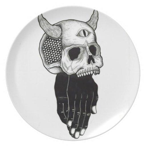 placa del cráneo plato de cena
