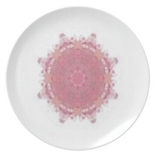 Placa del cuarzo color de rosa plato