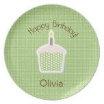 Placa del cumpleaños de la magdalena platos