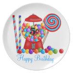 Placa del cumpleaños de la máquina de Gumball Plato Para Fiesta