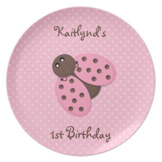 Placa del cumpleaños de la mariquita plato