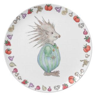 Placa del cumpleaños de la melamina del erizo de plato para fiesta