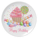 Placa del cumpleaños de los dulces del país de las platos para fiestas