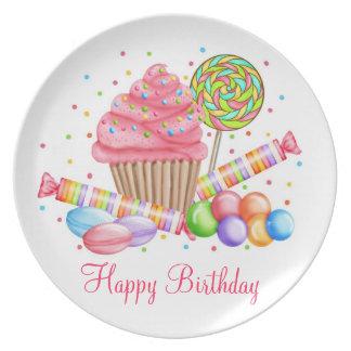 Placa del cumpleaños de los dulces del país de las plato para fiesta