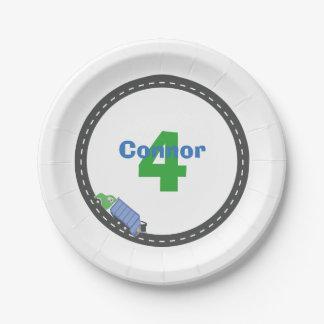 Placa del cumpleaños del camión de basura plato de papel de 7 pulgadas
