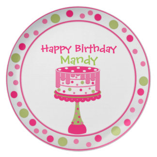 Placa del cumpleaños del chica bonito plato de comida