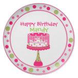 Placa del cumpleaños del chica bonito platos