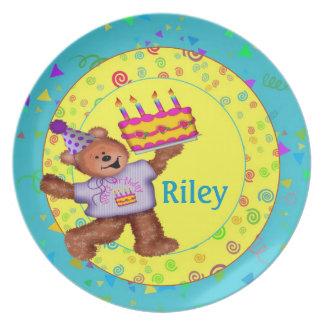 Placa del cumpleaños del oso de peluche platos