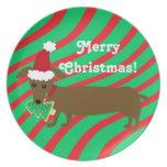 Placa del Dachshund de las Felices Navidad Plato