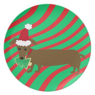 Placa del Dachshund del navidad Plato De Cena