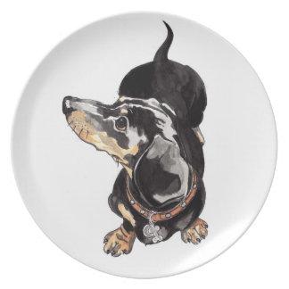 placa del dachshund plato de cena