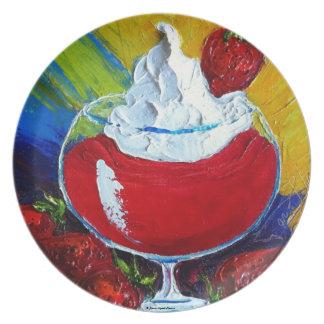 Placa del daiquirí de fresa plato para fiesta