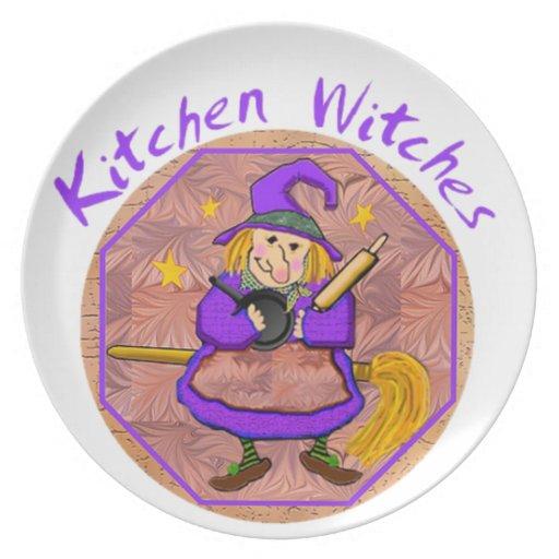 Placa del decorador de la bruja de la cocina plato