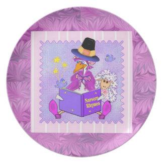 Placa del decorador de la mamá ganso platos de comidas