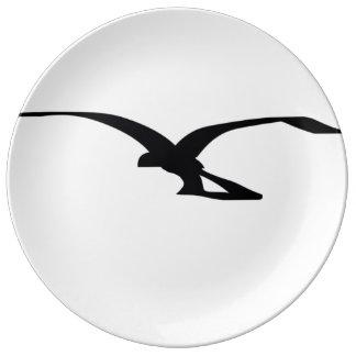 placa del decorativ del vuelo del pájaro plato de cerámica