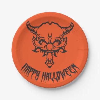 Placa del demonio de Halloween Platos De Papel