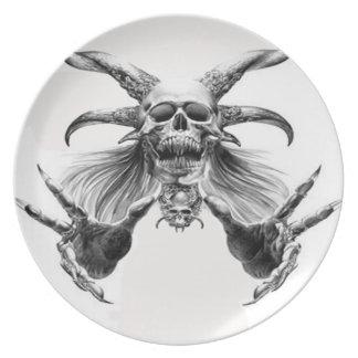 Placa del demonio plato para fiesta