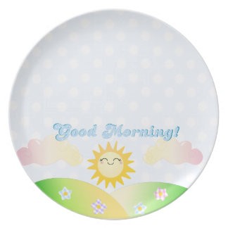 Placa del desayuno de la sol de la buena mañana platos de comidas