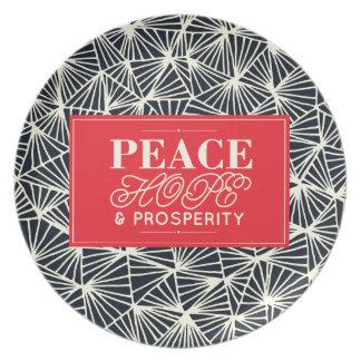 Placa del día de fiesta de la paz, de la esperanza platos para fiestas