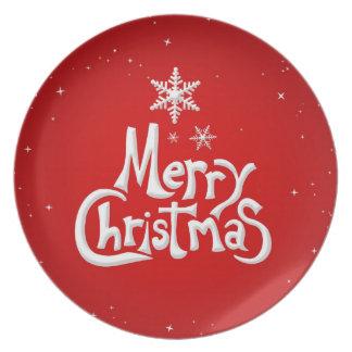 Placa del día de fiesta de las Felices Navidad Platos De Comidas