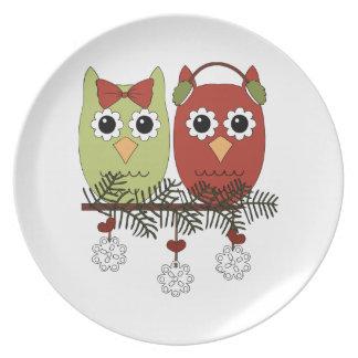 Placa del día de fiesta de los búhos del navidad plato para fiesta