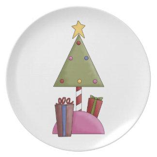 Placa del día de fiesta del árbol de navidad plato para fiesta