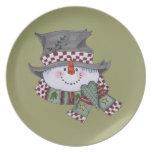 Placa del día de fiesta del hombre de la nieve platos